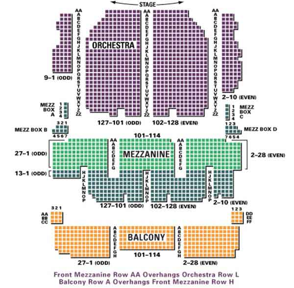 palace theatre seating chart